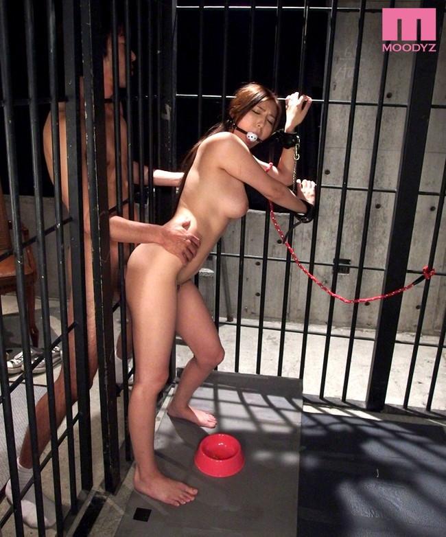 【おっぱい】檻の中で拘束されながら調教されている女性のおっぱい画像がエロすぎる!【30枚】
