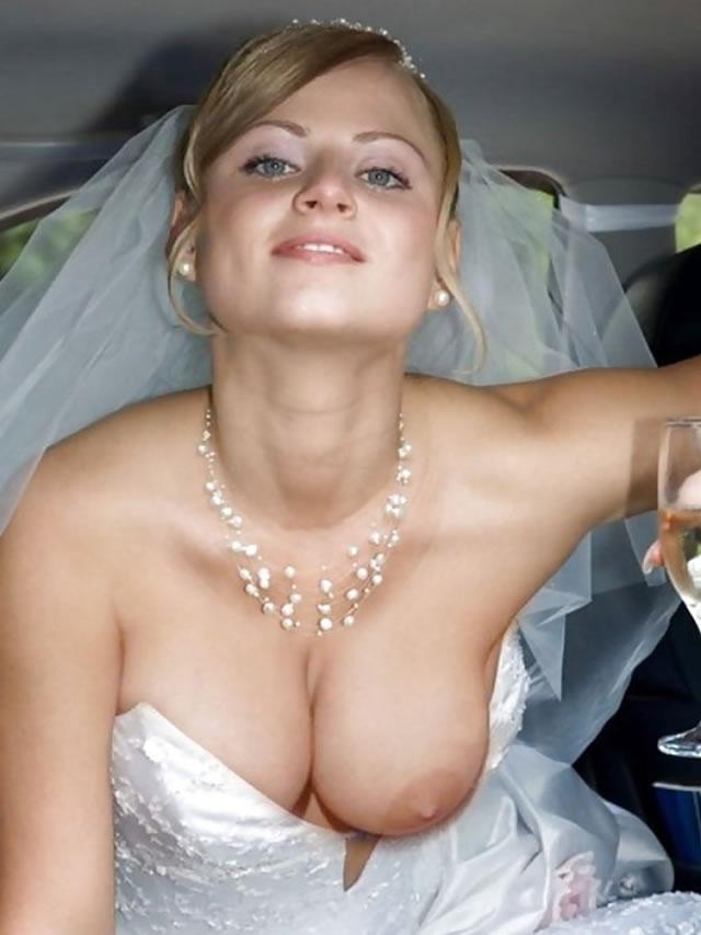【おっぱい】ウェディングドレスに包まれながらおっぱい丸出しにしてる新婦さん!【30枚】 30